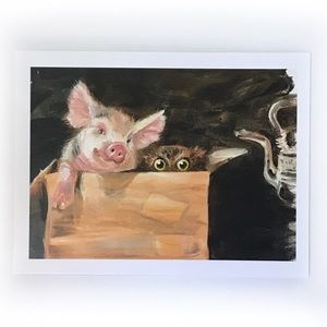 Piglet and owl pig art print listed by artist